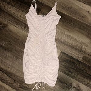 White ruched Fashion Nova dress